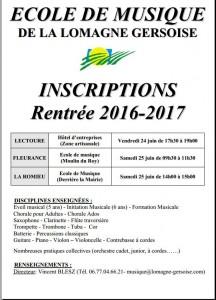 Inscription école de musique 2016-2017